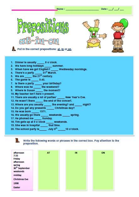 Preposition In Learn In Marathi All Complate: Prepositions Of Time Elementary Worksheet 2
