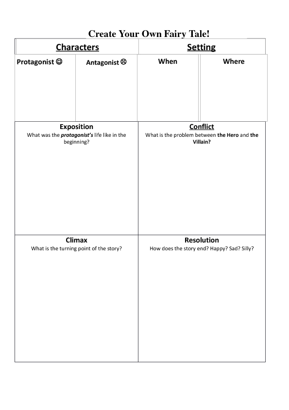 Your Own Fairy Tale – Elements of Fiction Worksheet