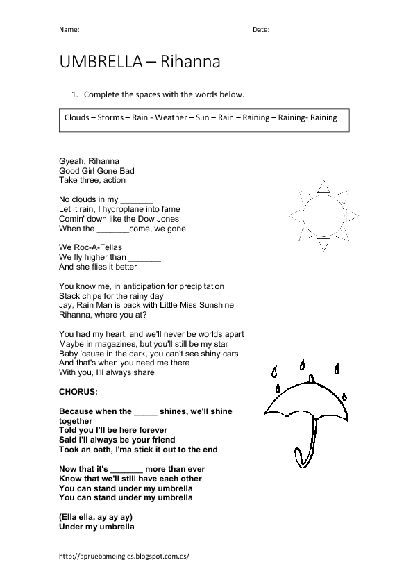 song worksheet umbrella by rihanna weather. Black Bedroom Furniture Sets. Home Design Ideas