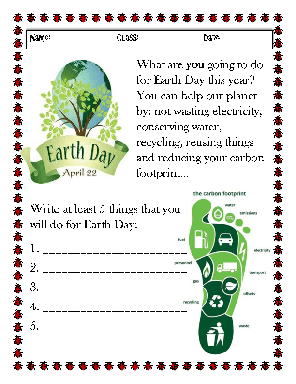 68 FREE Earth Day / Earth Hour Worksheets