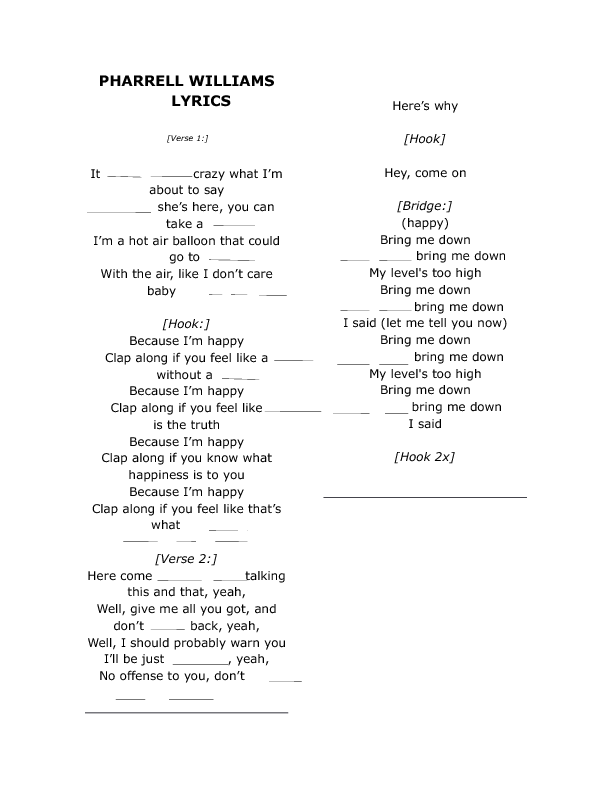 Song Worksheet Happy By Pharrell Williams For Spanish Speakers