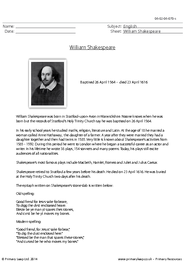 William Shakespeare Worksheet Worksheets for all | Download and ...