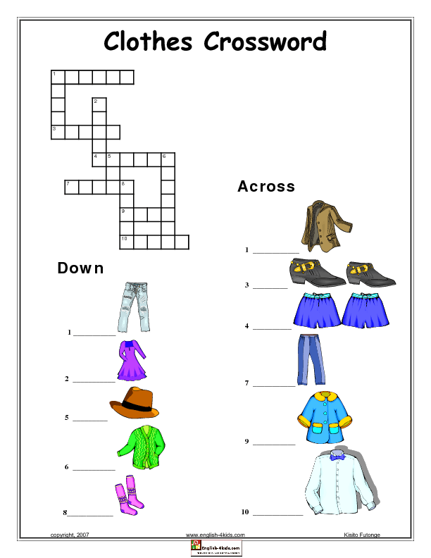 Modular Classroom Crossword ~ Clothes crossword