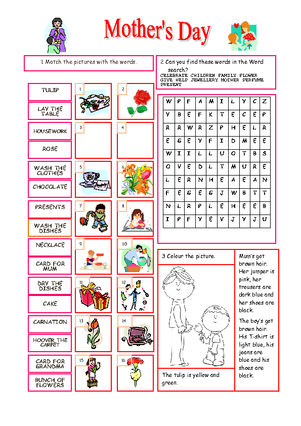 46 free mother 39 s day worksheets and lesson plans. Black Bedroom Furniture Sets. Home Design Ideas