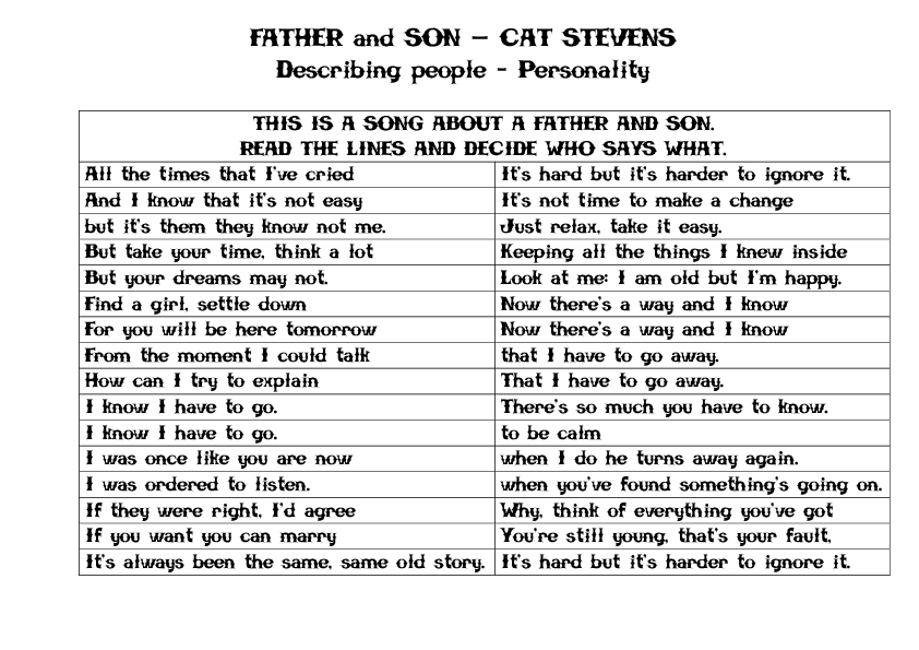 Song Worksheet JC 39 S Father and