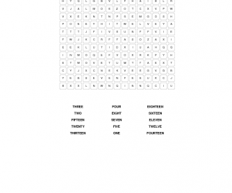 Word Search (Numbers 1-20)
