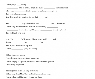 Song Worksheet: Gillian by Ane Brun