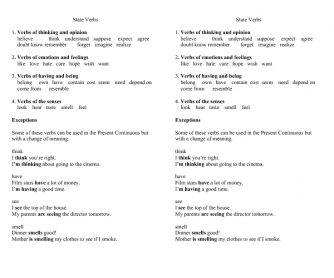 State Verbs (Groups and Exceptions)