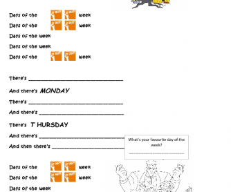 Song Worksheet: Days of the Week (Adam's Family Tune)