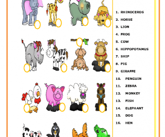 Animals Matching Activity