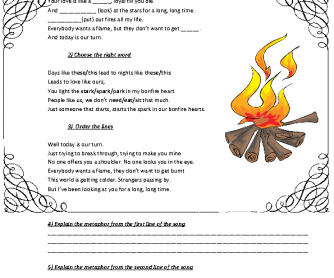 Song Worksheet: Bonfire Heart by James Blunt