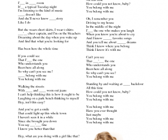 Song Worksheet: You Belong with Me by Taylor Swift