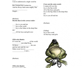 Song Worksheet: Joy to the World by Three Dog Night