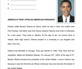 Barack Obama - Reading Comprehension for Elementary