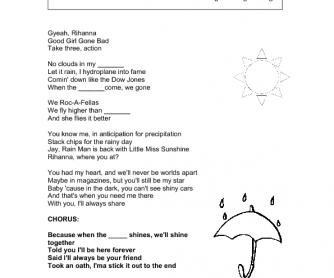 Song Worksheet: Umbrella by Rihanna ( Weather)