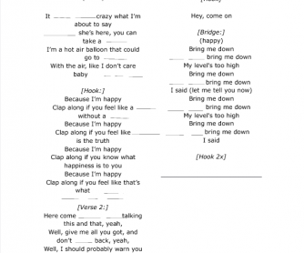Song Worksheet: Happy by Pharrell Williams ( for Spanish Speakers)