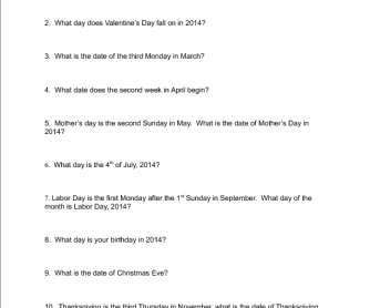 Days and Dates Questionnaire 2014