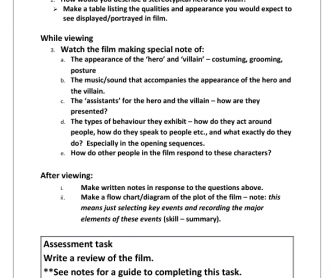 Movie Worksheet: The Great Race (Heroes and Villains)