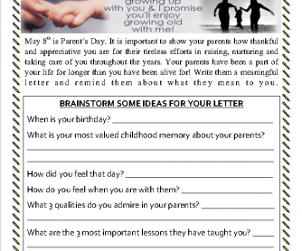Parent's Day Letter Writing Assignment