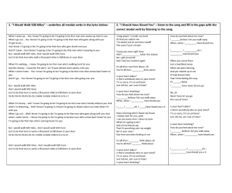 Song Worksheet: Using Modal Verbs