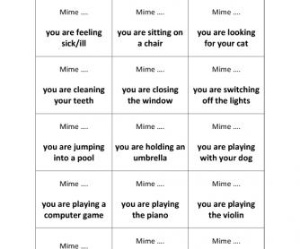 Present Progressive Miming Cards