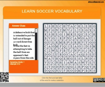 Learn Soccer Vocabulary Word Search Game (Interactive PDF)