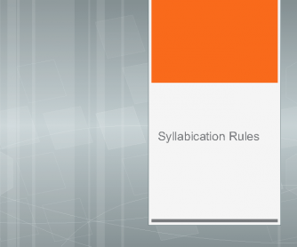 Syllabication Rules