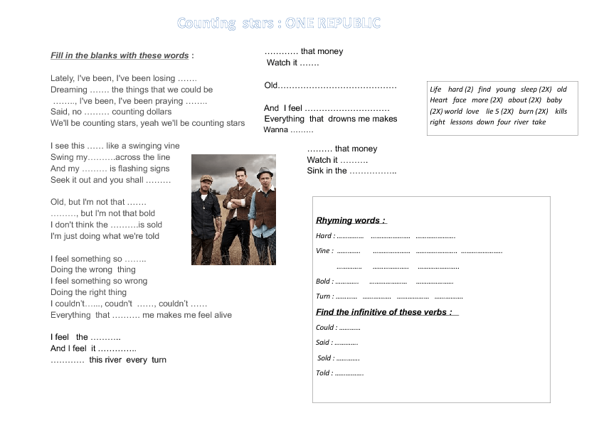 Worksheet Counting Stars by One Republic – Rhythm Counting Worksheets