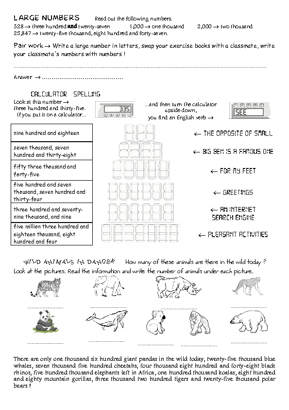 29 FREE Large Numbers Worksheets