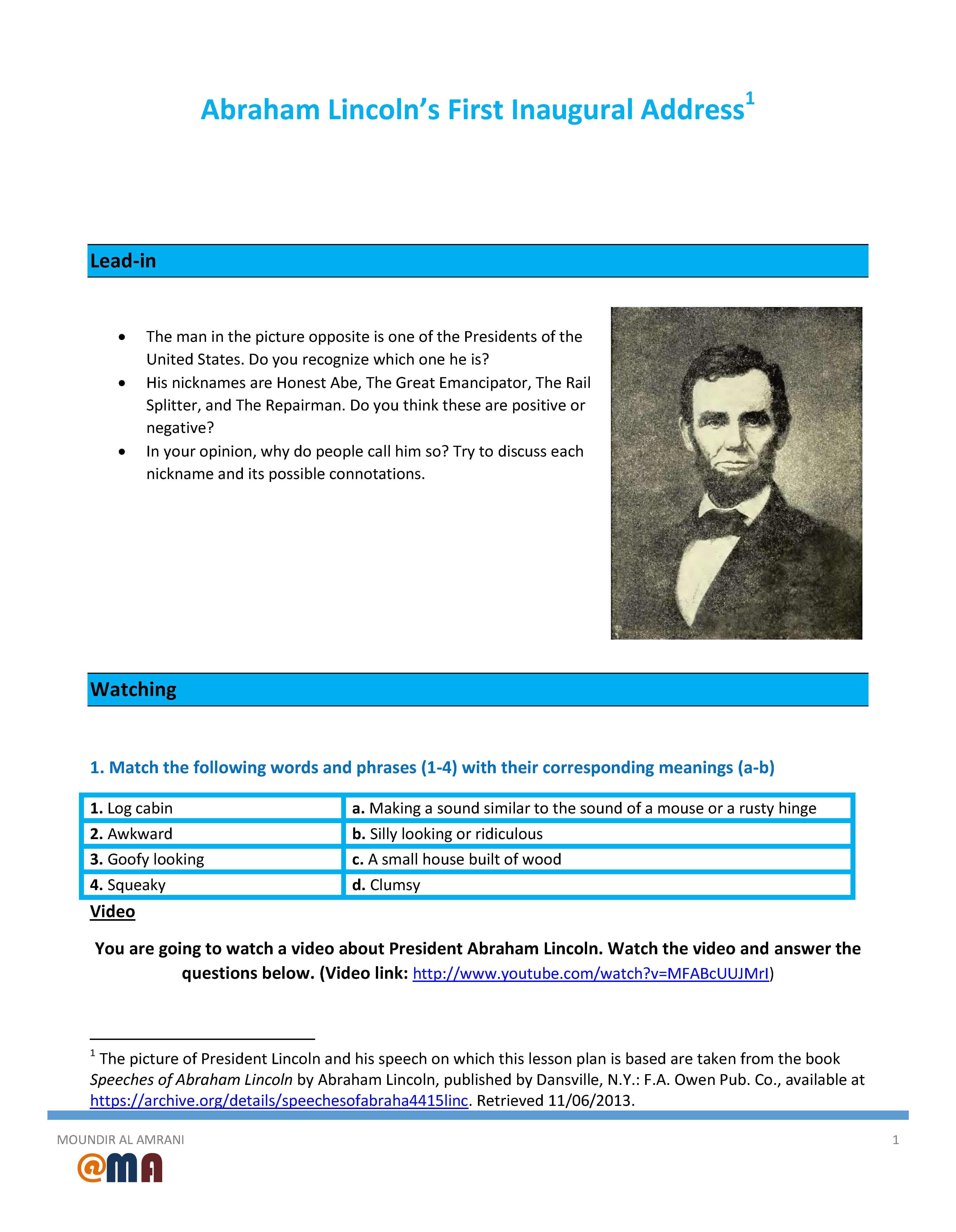 Worksheets Abraham Lincoln Worksheets worksheet abraham lincolns first inaugural address movie address