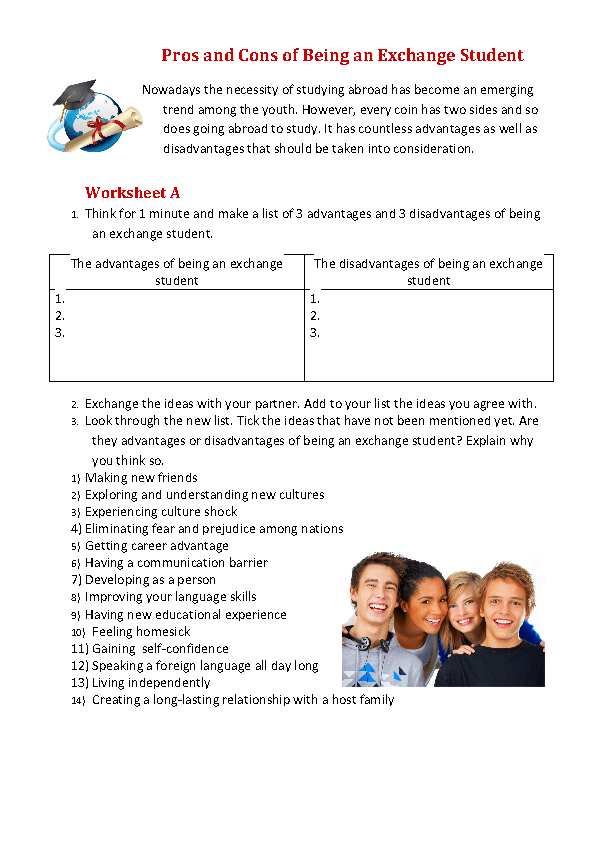 movie worksheet pros and cons of being an exchange student