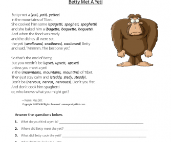 Reading Comprehension - Betty Met A Yeti