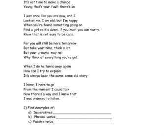 Song Worksheet: Father & Son (Imperatives)