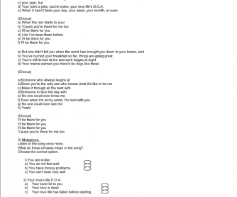 Song Worksheet: I'll Be There for You