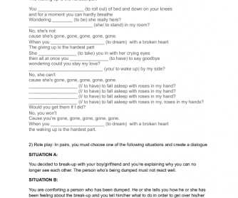 Song Worksheet: Dreaming with a Broken Heart by John Mayer
