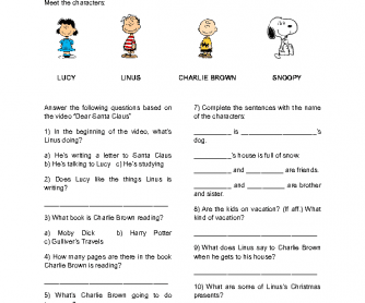 Movie Worksheet: Peanuts