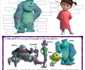 Monsters Inc - The Body Worksheet