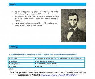 Movie Worksheet: Abraham Lincoln's First Inaugural Address