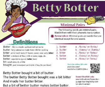 Betty Botter- Visual Tongue Twister Activity