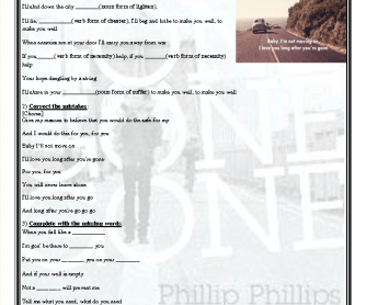 Song Worksheet: Gone Gone Gone by Phillip Phillips