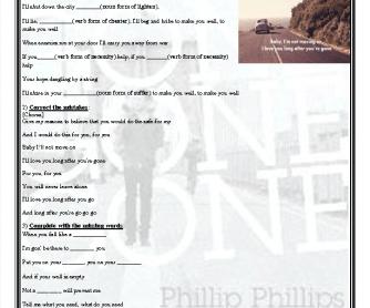 Song Worksheet: Gone Gone Gone by Phillip Phillips