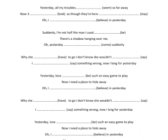 Song Worksheet: Yesterday by The Beatles