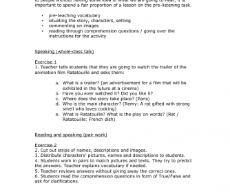 Movie Worksheet Ratatouille Trailer