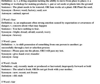 Vocabulary Grade 2/3 #5A