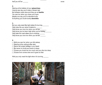 Song Worksheet: Let Her Go by Passenger Fill in the Blank and Ordering