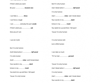 Song Worksheet: Human by Christina Perri