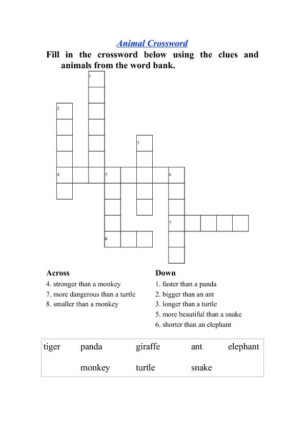 Animal Comparison Crossword