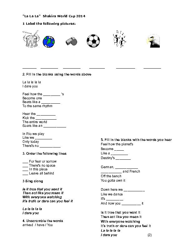 Song Worksheet La La La Brazil World Cup 2014 By Shakira