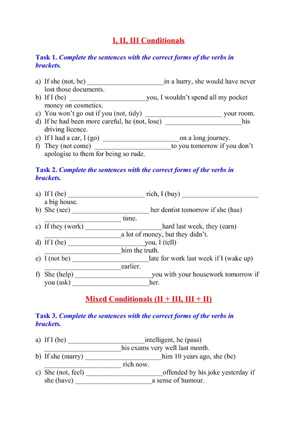 Conditional Sentences (I, II, III + Mixed)