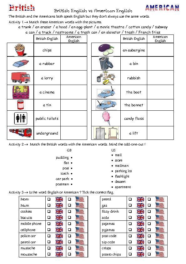 70 FREE British/American Worksheets